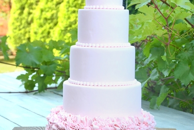 Wedding Cake -  Tall Pink Rose