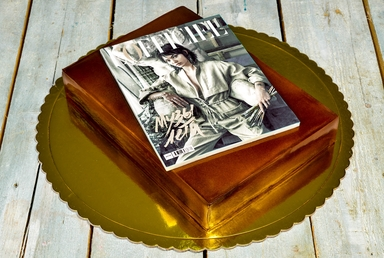 Golden Magazine Cake